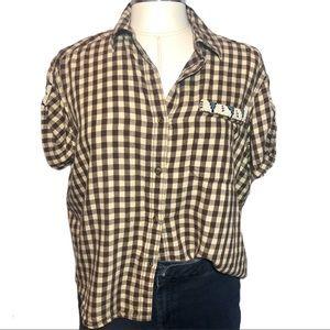 Lauren Denim & Supply Gingham Shirt Bead Detail